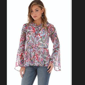Wrangler red paisley bell sleeve blouse size XXL